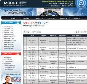 Mobile Spy SMS History
