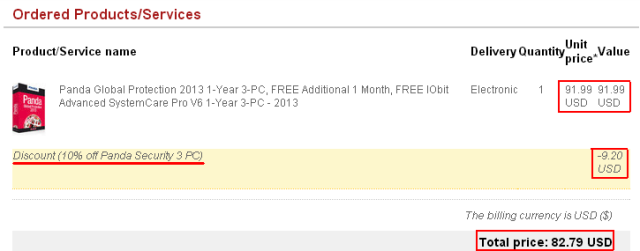 Discount 10% off Panda Security 3 PC