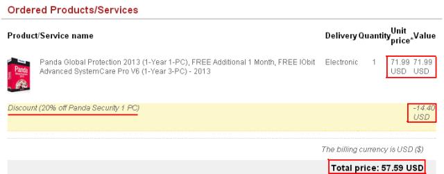 Discount 20% off Panda Security 1 PC