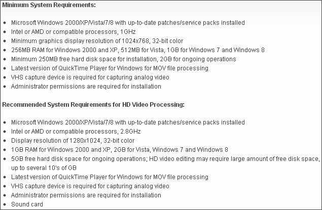 Movavi Video Editor 9 - System Requirements