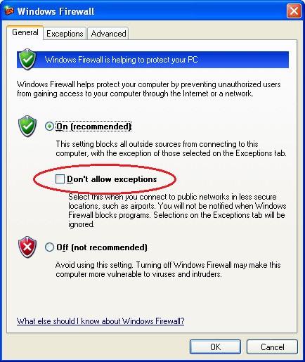Windows XP Firewall