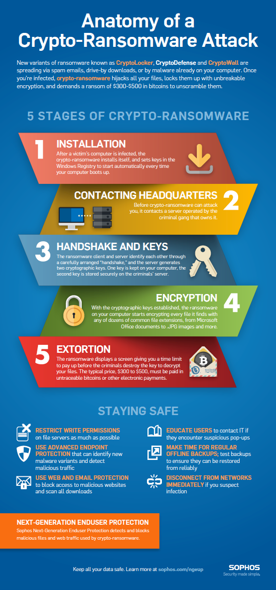 Anatomy of a ransomware attack infographic